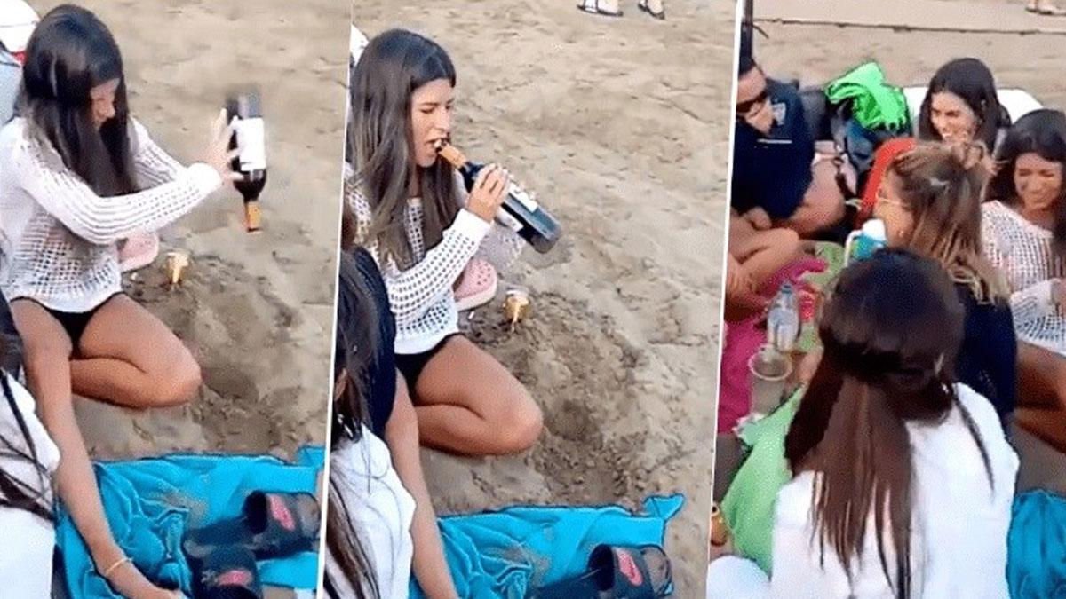 Una joven utiliza una insólita técnica para abrir un vino y se volvió viral
